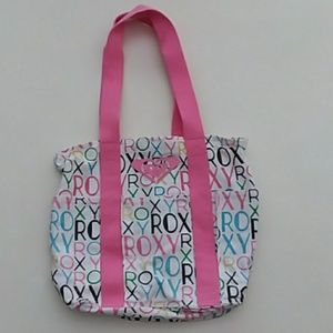 Roxy logo print pink white canvas tote bag